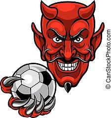 Devil Soccer Football Mascot - A devil cartoon character...