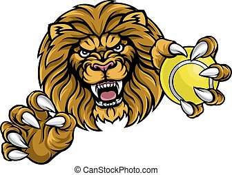 Lion Tennis Ball Sports Mascot - A lion angry animal sports...