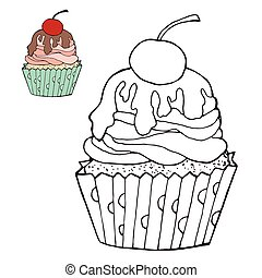 Coloring page with a cake. color version