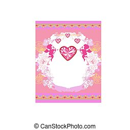 Cute valentines day card with cupids