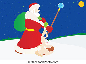 Santa Claus with a hare