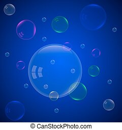 soap bubbles on a blue background