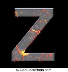 3D render of volcano cracks alphabet letter