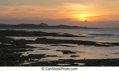Evening coastal lanscape view from Seahouses,...