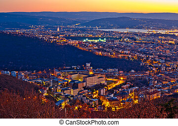 Aerial evening view of Trieste, capital city of...