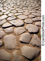 Ancient road of stones - Ancient going up again road to the...