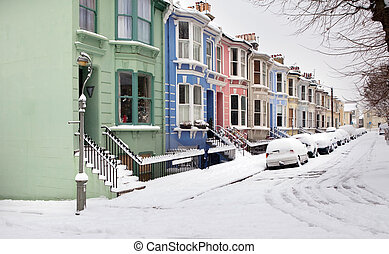 house street england snow winter - houses in winter snow,...