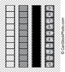 Vector isolated film strips on transparent background.