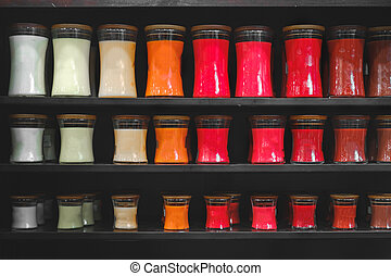 candle store scented candles shelves black background shelf...