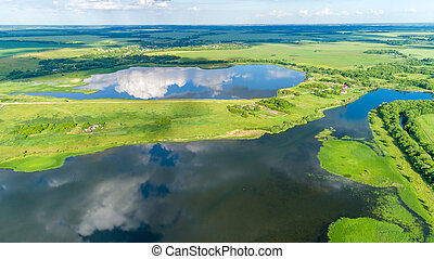 A birds eye view of ponds in summer, Russia - A birds eye...