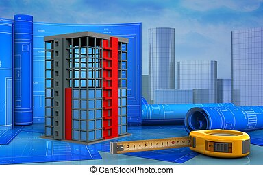 3d with drawing roll - 3d illustration of building...