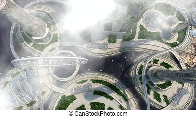 concept future city skyline. Futuristic business vision concept.