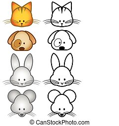Illustration set of pet animals - Vector illustration set of...