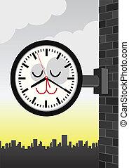 Illustration of a station clock. - Vector cartoon...
