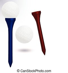 Golf ball and tee illustration. - Vector illustration of a...
