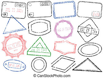 Passport & post stamp illustration. - A set of different...