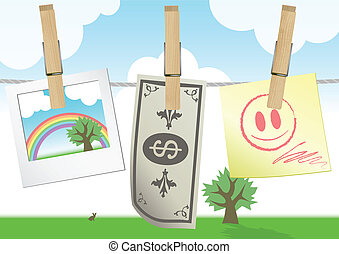 Illustration of a clothesline. - Vector illustration of a...