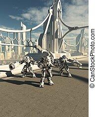 Robot Sentinels Guarding the Bridge - Science fiction...