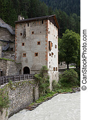 Medieval castle Altfinstermunz, in the valley of the Inn...
