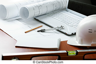 professional construction - concept with white laptop and...