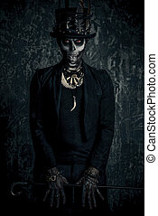 halloween folklore character - A man with a skull makeup...
