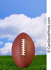 American football - Photo of an American football teed up on...