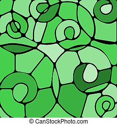 abstract vector stained-glass mosaic background - green...