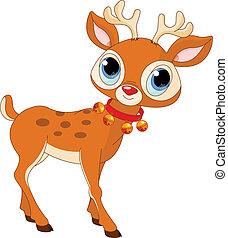 hermoso, caricatura, reno, Rudolf