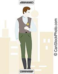 mafia card Commissar - the illustration - card for mafia -...