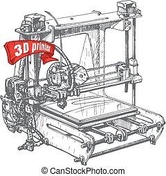 plastic 3D printer - Vector illustration of a 3D printer...