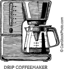 illustration of coffee machine - Drip coffeemaker. Vector...