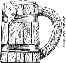 illustration of wooden tankard - wooden tankard with a...