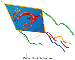 Kite with the Chinese dragon and tapes in a vector