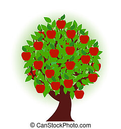 apple tree on white background - vector illustration of an...