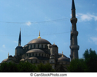 Sultan Ahmed Mosque - Exterior of Sultan Ahmed Mosque, blue...