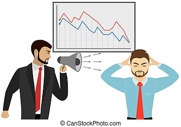 Chief yelling at the manager, business stress concept,