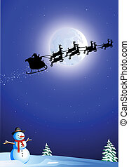 santa's sleigh - Silhouette of santa in his sleigh flying...