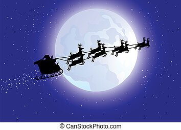 Santas sleigh - Vector illustration of Santas sleigh flying...