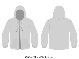Hoody with zipper vector template. - Template vector...