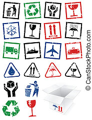 Illustration set of packing stamps.