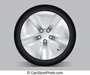 Aluminum wheel - vector illustration. Sport wheel.
