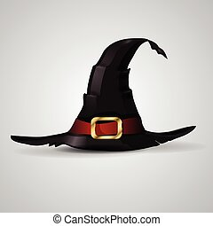 Wizard hat, vector - Wizard withch hat isolated on white...