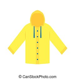 Yellow raincoat waterproof clothes. Flat design of rain coat...