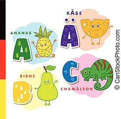 Deutsch alphabet. Pineapple, cheese, pear, chameleon. Vector...