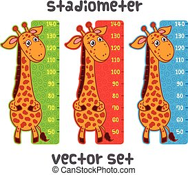 Cute giraffe meter wall from 50 to 140 centimeter.