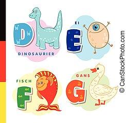 Deutsch alphabet. Dinosaur, egg, fish, goose. Vector letters...