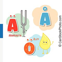 Finnish alphabet. Tuning Fork, Butter. Vector letters and...