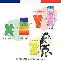 xilofon, alphabet., francia, joghurt, vektor, betűk, zebra.,...