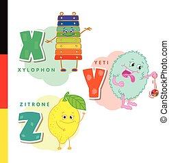 Deutsch alphabet. Xylophone, Yeti, lemon. Vector letters and...