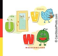 Deutsch alphabet. Door, bird, watermelon. Vector letters and...